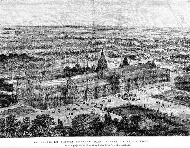 Gravure : Vue perspective du palais de Cristal dans le parc de Saint-Cloud