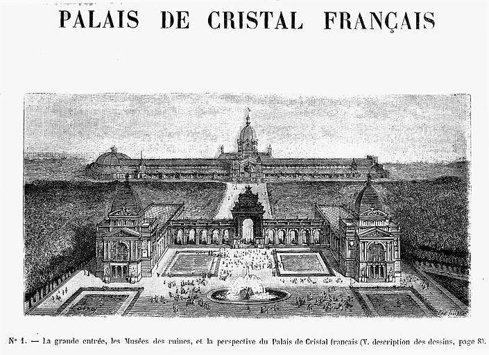 Gravure : La grande entrée, les musées des ruines, et la perspective du Palais de Cristal