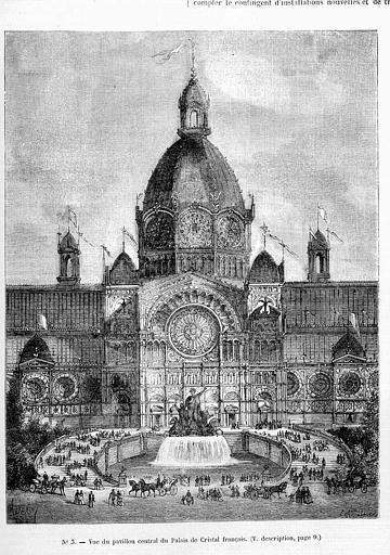 Gravure : Vue du pavillon central