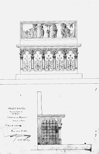 Projet d'autel pour la chapelle des Saintes Reliques (dessin à la plume, encres noire et bleue)