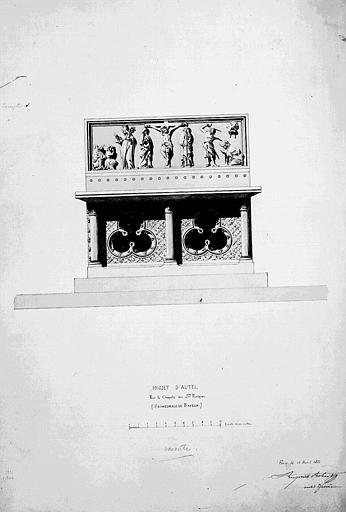 Projet d'autel pour la chapelle des Saintes Reliques (aquarelle)