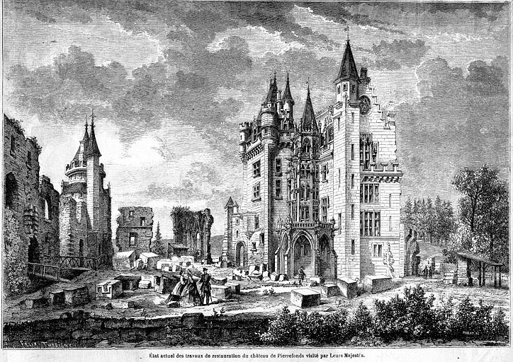 Gravure : Etat actuel des travaux de restauration du château de Pierrefonds visité par leurs Majestés