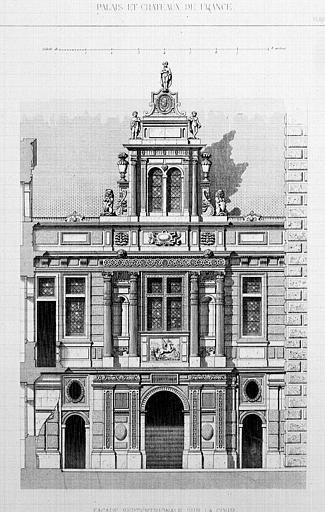 Gravure : Elévation de la façade septentrionale sur la cour, entrée du grand escalier