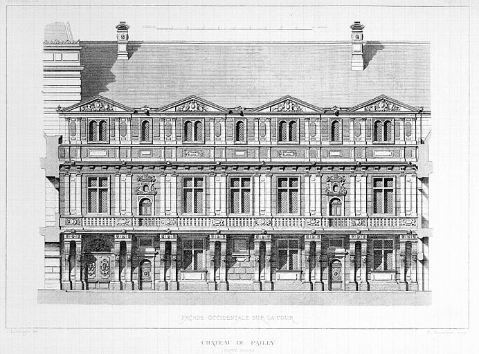 Gravure : Elévation de la façade occidentale sur la cour