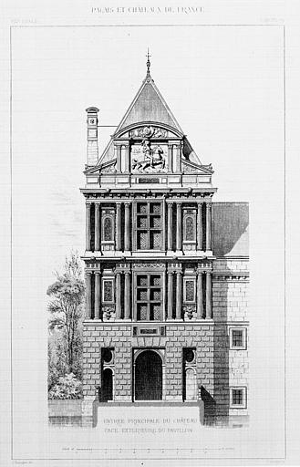Gravure : Elévation de l'entrée principale du château, face extérieure du pavillon
