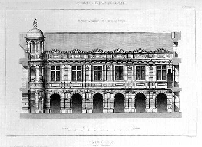 Gravure : Elévation de la façade méridionale sur la cour