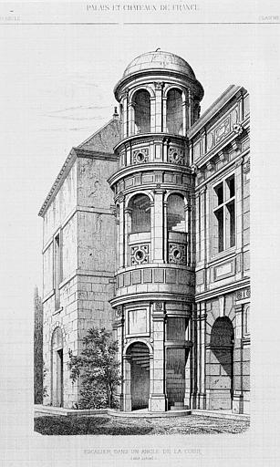 Gravure : Elévation de l'escalier dans un angle de la cour (état actuel)