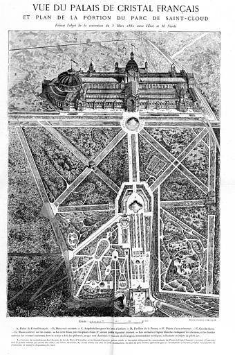 Gravure : Vue du palais et plan de la portion du Parc de Saint-Cloud