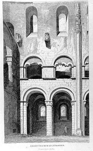 Gravure : Vue intérieure d'une partie de la nef