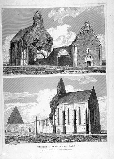 Gravure : Vue d'ensemble de l'église en ruines