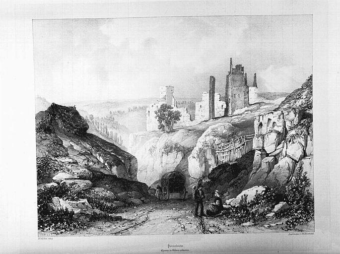 Lithographie : Vue des ruines depuis le chemin de Villers-Cotteret à Pierrefonds
