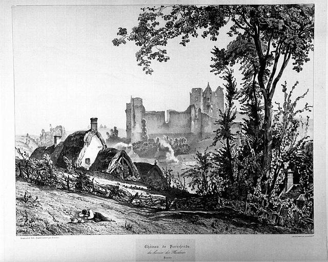Lithographie : Vue des ruines depuis le chemin des Plaideurs de Pierrefonds