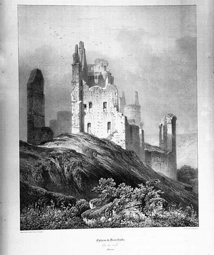 Lithographie : Vue des ruines côté sud