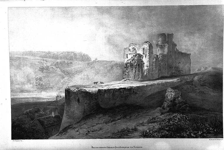 Lithographie : Vue des ruines prises des remparts