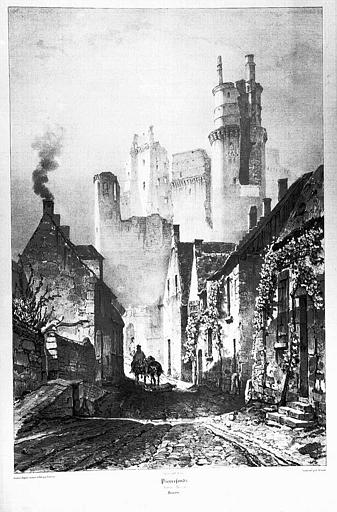 Lithographie : Vue des ruines prises de la rue du Bourg
