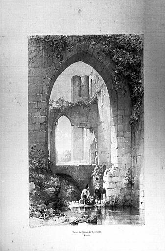Lithographie : Ruines du château