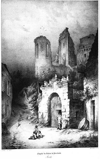 Lithographie : La chapelle du château