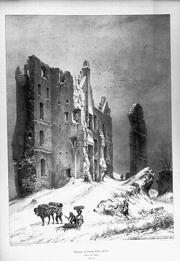 Lithographie : Ruines du donjon