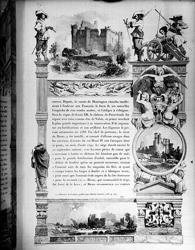Lithographie (page encadrée de gravures) : Destruction de Pierrefonds en 1616