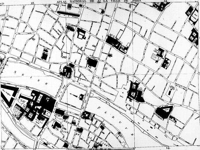 Plan du quartier de la Cité et de l'Hôtel de Ville