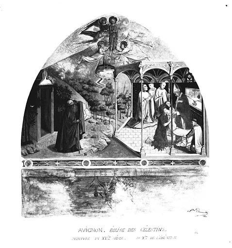 Relevé de peinture murale : Ravissement et dernière communion de sainte Madeleine