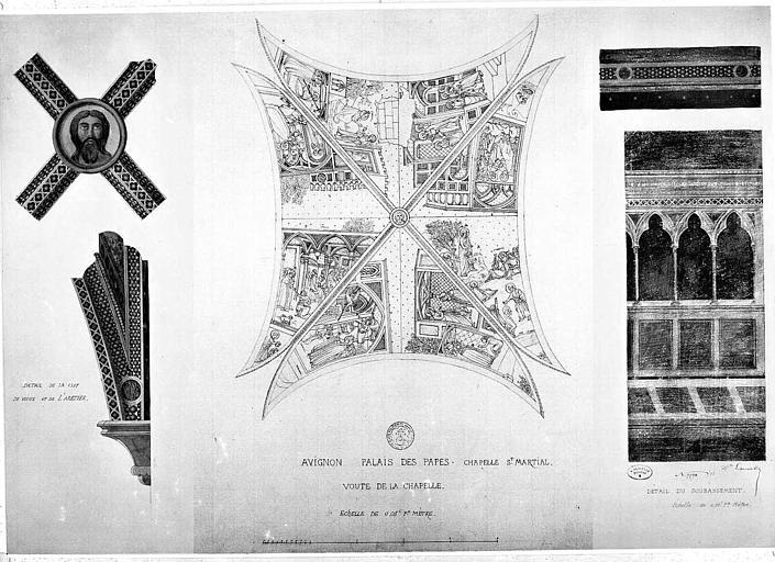 Relevé de peinture murale de la voûte de la chapelle Saint-Martial (ensemble et détails)
