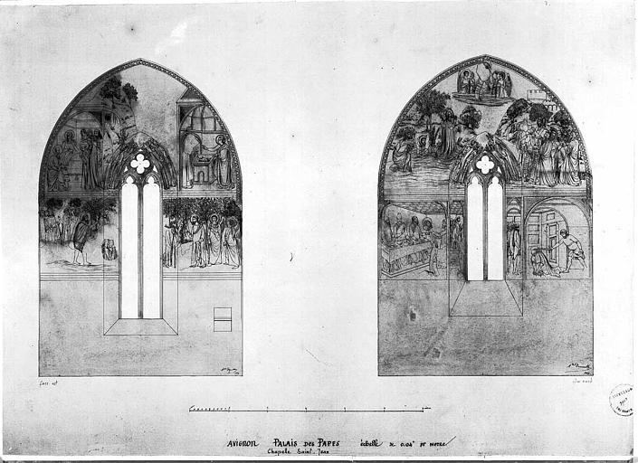 Relevé de peintures murales des faces est et nord de la chapelle Saint-Jean