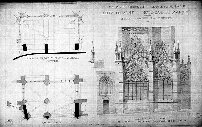 Elévations et plans de la chapelle de Navarre