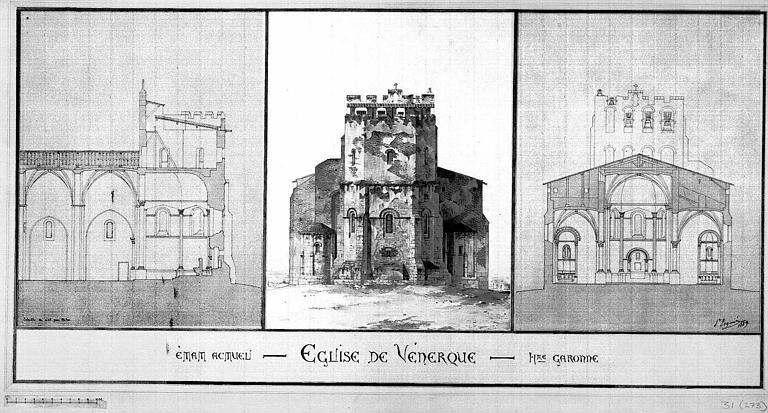 Coupe longitudinale, élévation de la façade est, et coupe transversale vers l'est (état actuel)