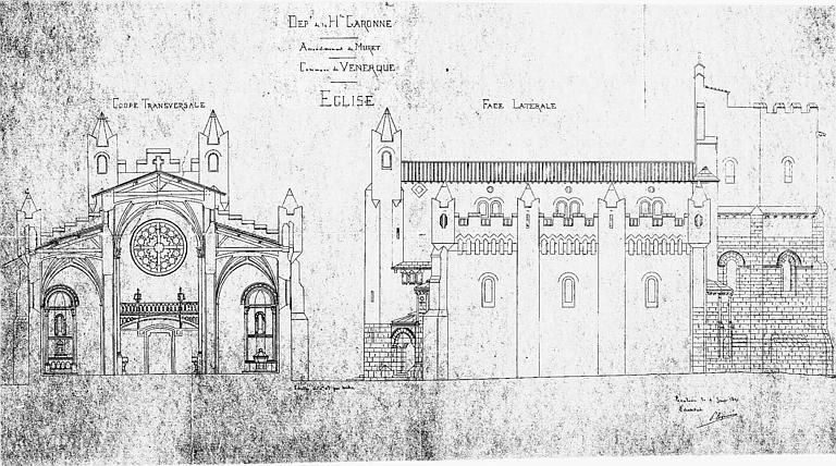 Coupe transversale vers l'ouest et élévation de la façade sud (calque)