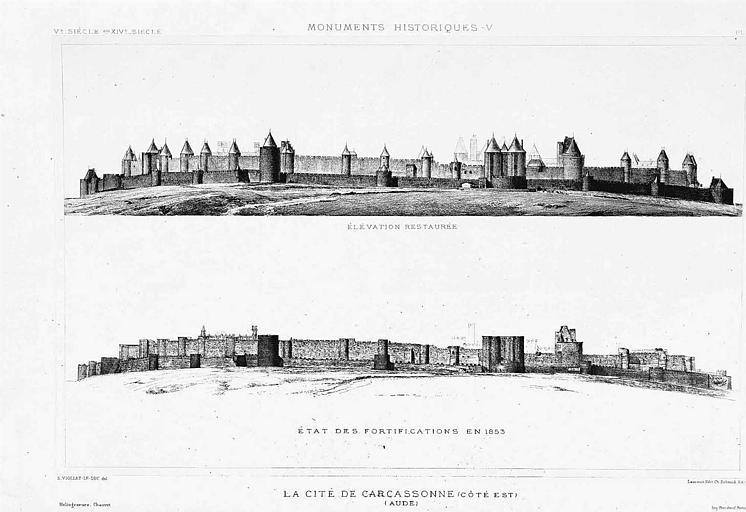 Héliogravure : Vue d'ensemble des remparts côté est (élévation restaurée et état en 1853)