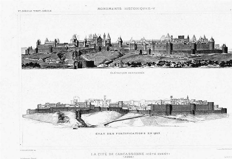 Héliogravure : Vue d'ensemble des remparts côté ouest (élévation restaurée et état en 1853)
