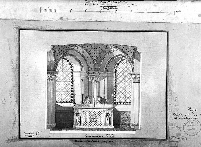 Projet de chapelle expiatoire : Elévation de l'autel projeté (dessin à la plume et aquarelle)