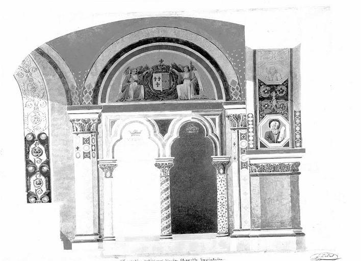 Décoration intérieure de la chapelle expiatoire : Caveaux (mine de plomb et aquarelle)