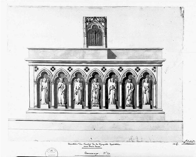 Elévation de l'autel de la chapelle expiatoire aux trois races, caveaux n° 29 (plume et aquarelle)
