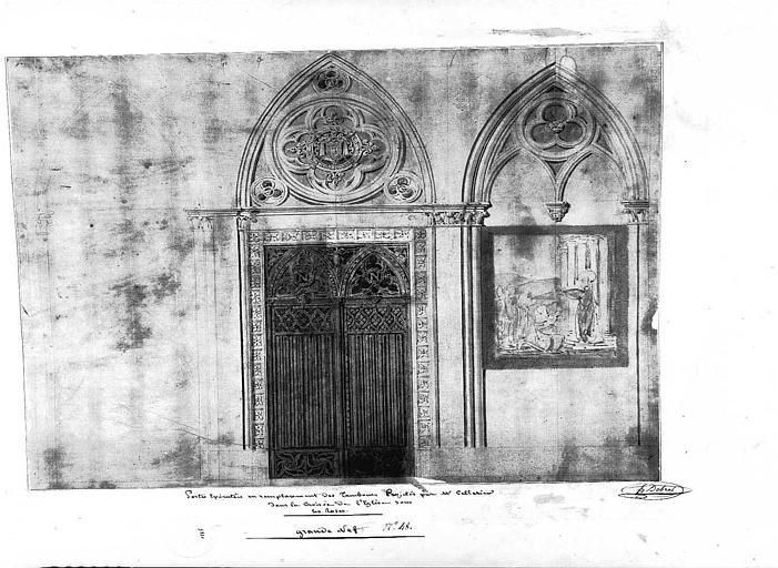 Elévation des portes exécutées en remplacement des tambours projetés par M. Cellerier dans la croisée de l'église sous les roses de la grande nef, n° 48