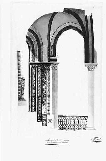 Coupe générale n° 54 de la Chapelle de la Vierge (mine de plomb et aquarelle)