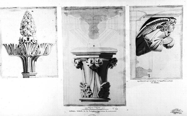 Détails de la sculpture, n° 69 (Mine de plomb et aquarelle)