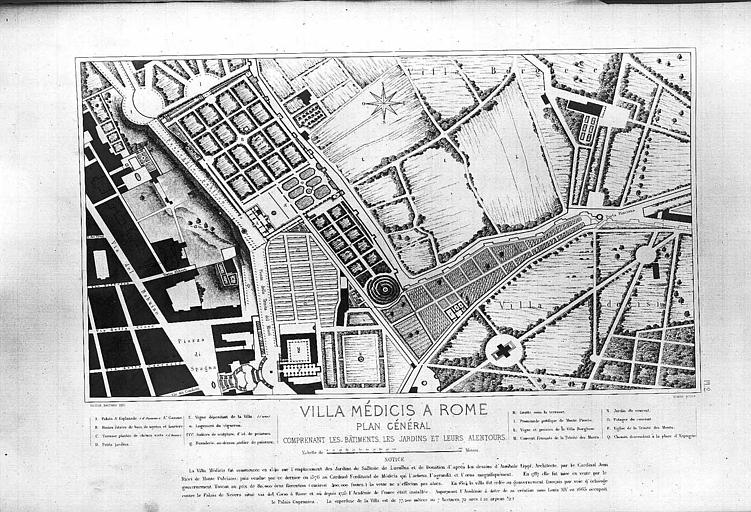 Gravure : Plan général comprenant les bâtiments, les jardins et leurs alentours