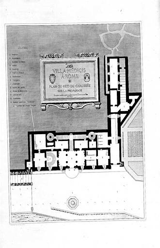 Gravure : Plan du rez-de-chaussée sur la promenade