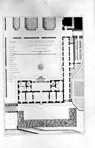 Gravure : Plan du rez-de-chaussée sur le jardin