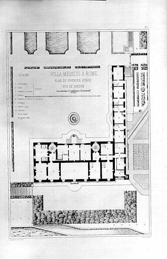 Gravure : Plan du 1e étage sur le jardin