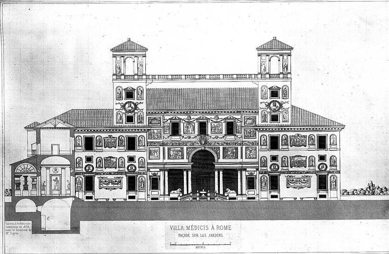 Gravure : Elévation de la façade sur les jardins