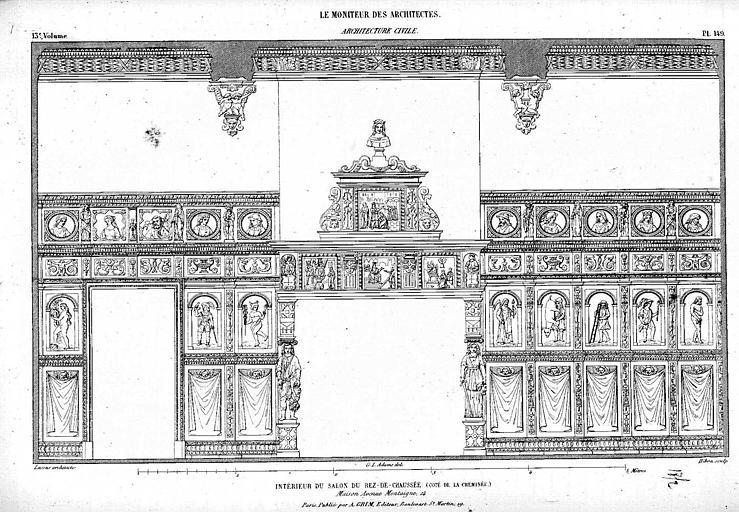Gravure : Relevé du décor mural du salon du rez-de-chaussée, du côté de la cheminée