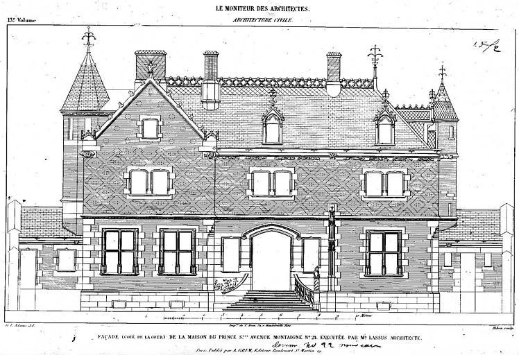 Gravure : Elévation de la façade de la maison du Prince Soltykoff, côté cour