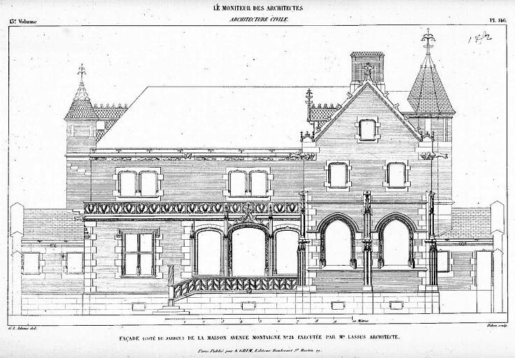 Gravure : Elévation de la façade de la maison du Prince Soltykoff, côté jardin