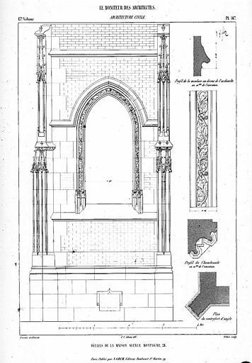 Gravure : Détails de la maison du Prince Soltykoff