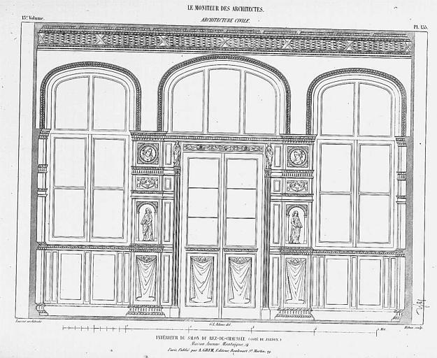 Gravure : Elévation intérieure du salon du rez-de-chaussée, côté jardin