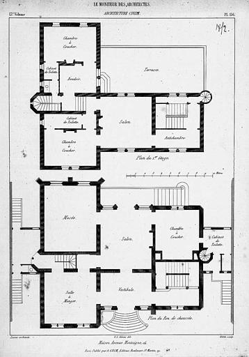 Gravure : Plans du rez-de-chaussée et du 1e étage