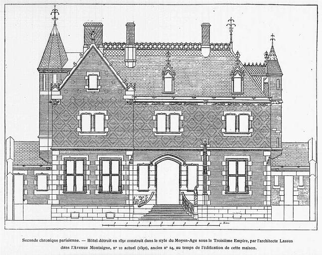 Gravure : Elévation de la façade côté cour